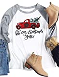 Women's Casual 3/4 Sleeve Merry Christmas Vintage Holiday Funny Raglan T-Shirt Size S (Gray)