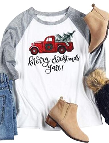 Women's Casual 3/4 Sleeve Merry Christmas Vintage Holiday Funny Raglan T-Shirt Size XXL (Gray)