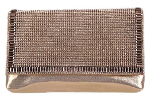 Girly HandBags Women's Gemstones Clutch Bag -- Gold