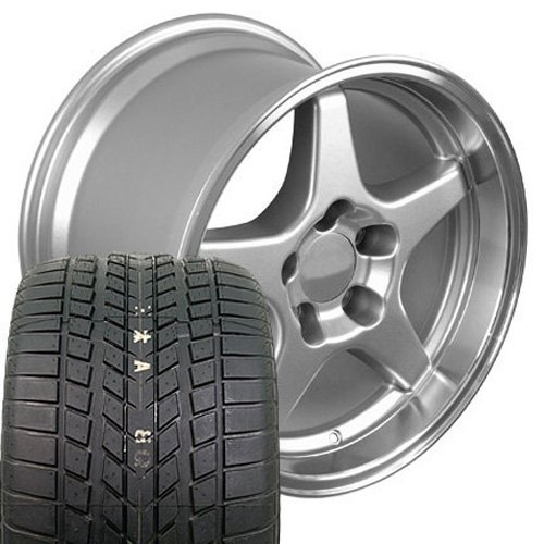 OE Wheels 17 Inch Fit Corvette Camaro CV01 ZR1 Silver 17x11/17x9.5 Staggered Rims Sumitomo Tires SET ()