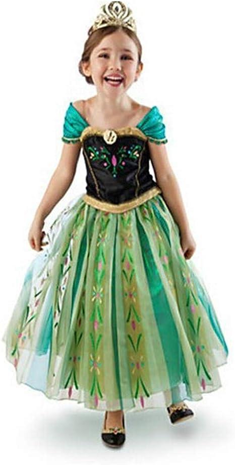 MFFACAI Disfraz de Princesa Anna Verde para niña: Amazon.es ...