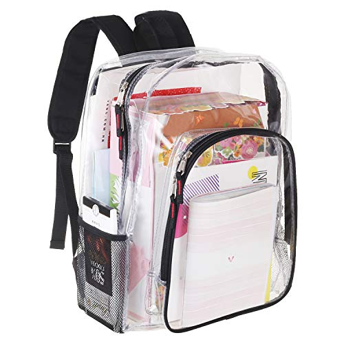 Heavy Duty Clear Backpack Transparent Bag With Reinforced Straps - Student Bookbag for School, Security, Sporting Events