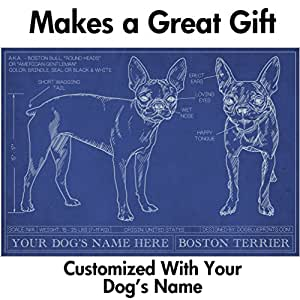 Boston Terrier Blueprint with Personalized Dog Name - Makes a Great Gift - Unframed Art Poster