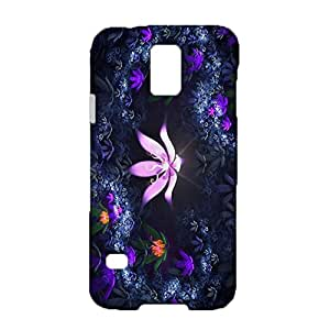 Samsung Galaxy S5 I9600 3D Protective Phone Case Contracted Atmosphere Snap on Samsung Galaxy S5 I9600 Lavender Flowers Mark Cellphone Shell