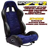 Performance World 274006 SportSeat2 Racing Black Synthetic Suede w/Blue Accents Seats. Pair