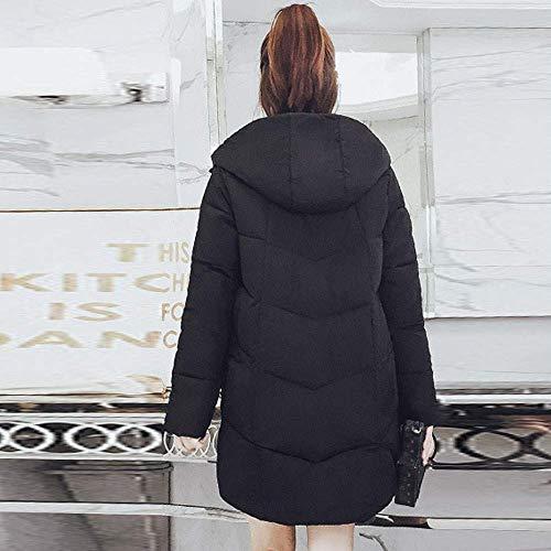 Longue Boutons En Survêtement Veste Manteaux Vestes M Manteau Parka Noir Capuche couleur Taille Coton Femme Casual Zhrui Rembourré HwqRx0f8x