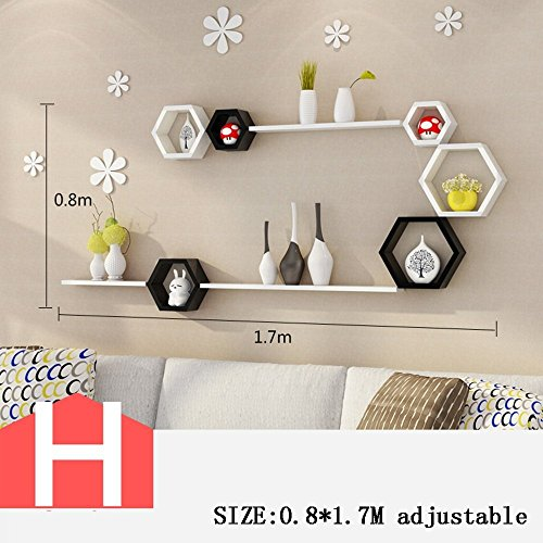 HOMEE Wall Creative Lattice Rack Tv Wall Decoration Living Room Wall Shelf Partition Wall Wall Decoration (Multiple Styles Available),H by HOMEE
