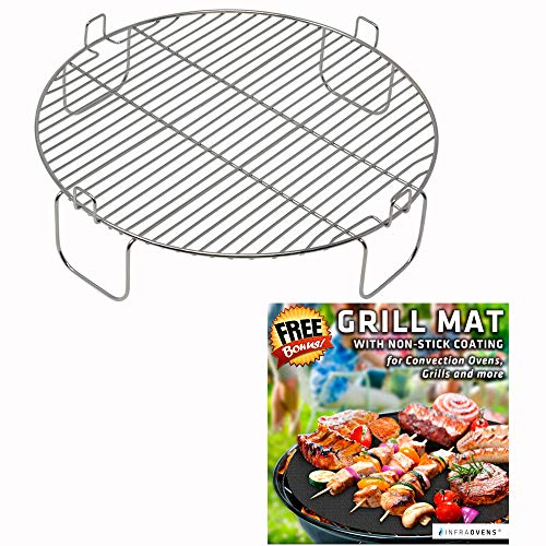 3 inch Stainless Steel Grill Rack Compatible with NuWave Oven PRO PLUS and ELITE Models | Reversible 1 inch Grate Accessory for Cooking or Cooling in Kitchen Infrared Convection Ovens | by INFRAOVENS (Rack Oven Convection For)