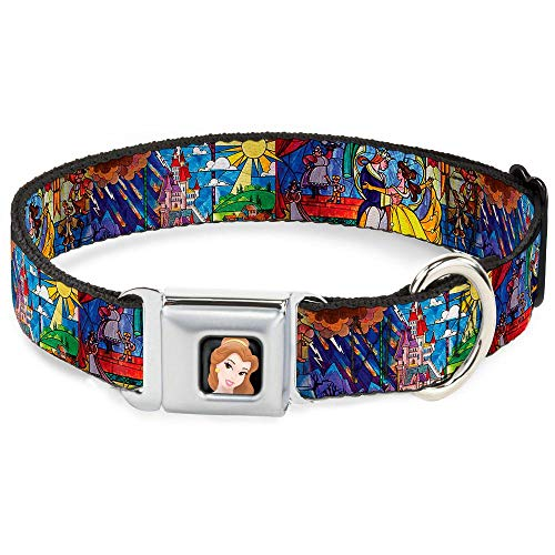 Buckle-Down Seatbelt Buckle Dog Collar - Beauty & the Beast Stained Glass Scenes - 1.5