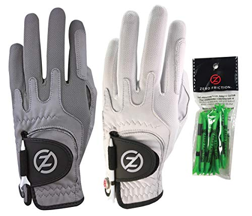 Zero Friction Male Men's Cabretta Elite Golf Glove 2 Pack, Free Tee Pack Grey & White, Universal Fit