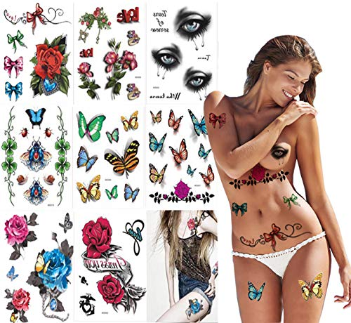Butterfly Temporary Tattoo For Women - 8 Sheets Sexy 3D Colorful Butterfly Body Art Temporary Tattoos Waterproof Sticker,Flowers,Bowknot,Various Tattoo -