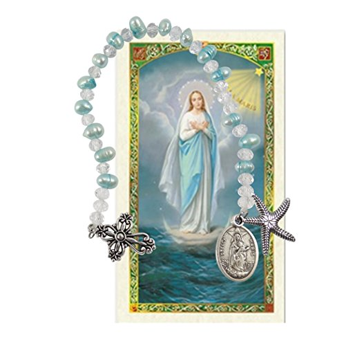 - Our Lady Star of the Seas Stella Maris Cultured Freshwater Pearls Holy Chaplet with Silver Oxidized Findings and Blessed Laminated Italian Holy card with Gold Accents (BLUE)