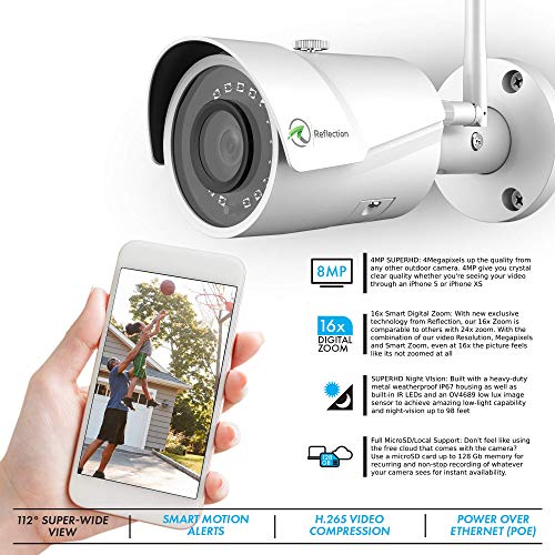 Reflection 4MP 2K WiFi Security Outdoor Camera | 2688 x 1520p, Bullet Surveillance Cam with Free Cloud, IP67 Weatherproof, Super-Wide Angle, 128Gb MicroSD, 100ft SUPERHD Night Vision, White