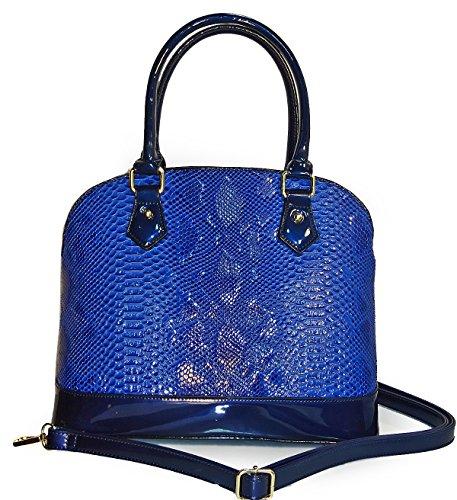 elegant-rimen-co-embossed-python-kiss-lock-top-dome-satchel-w-strap-blue