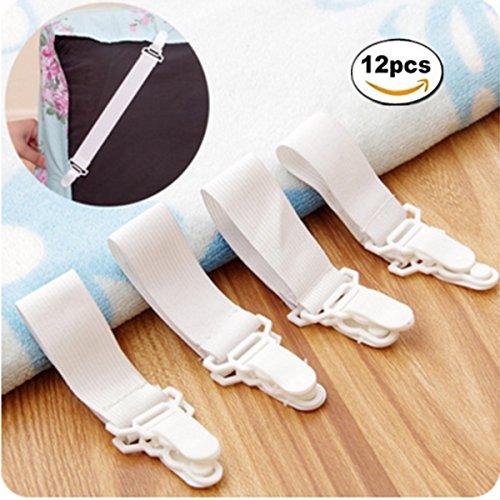 12 Pcs Adjustable Bed Sheet Fasteners Suspenders, Sheet Band Straps Clips, Bed Sheet Holder