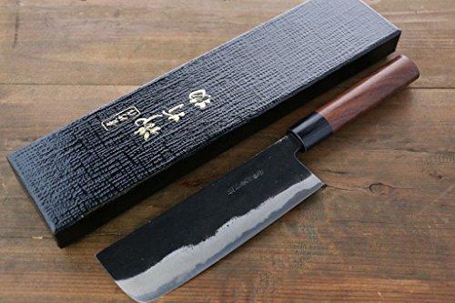 Takayuki Iwai Blue Steel No.2 Kurouchi Finish Nakiri Japanese Chef Knife 165mm by Takayuki Iwai