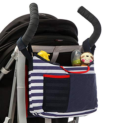 Baby Stroller Organizer Bag with Changing Pad and Large Storage Diaper Bag for Universal Stroller Accessories (Blue&White Multi-Function)