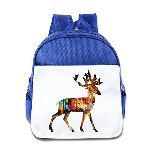 Price comparison product image Colorful Art Deer Kids Backpack Boys Girls School Bag(two Colors:pink Blue) RoyalBlue