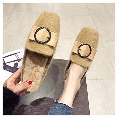 Zapatillas Ocio Plano Fondo Miller Zapatos Artificial Cinturón Caucho Comodidad Cuero Albaricoque De Botones Omfgod Piel Señoras Moda 4wqpBXB