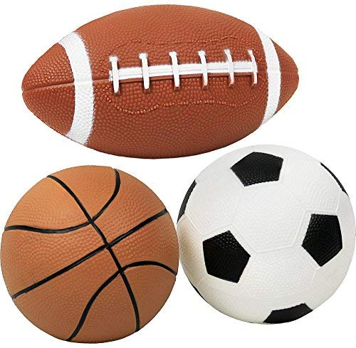 Click N' Play 43383-38079 Pack of 3 Mini Sports Pack Ball, Football, Soccer Ball and Basketball -