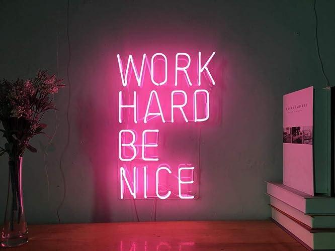 Amazon.com: work hard be nice real glass neon sign for bedroom