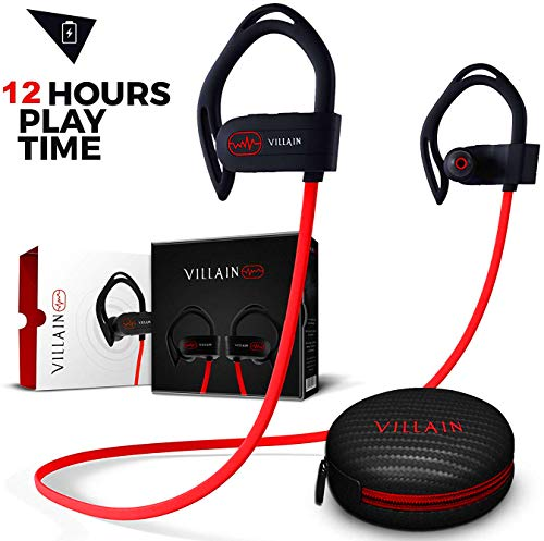 Villain Bluetooth Workout Wireless Headphones for Running and Gym - Mens Best Noise Cancelling Sports Earbuds - in Ear Waterproof IPX7 Sport Earphones - HD Stereo Sound Headset for iPhone & Android