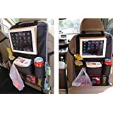 Happy Hours - Luxury Multi-pocket Hanging Seat Back Organizer Storage Bag for Vehicle Car With Adjustable Straps Top and Bottom Perfect for Your Kids Accessories, Ipad, Tablets, Toys, Sippy Cups, Water Bottle, Umbrella (Red)