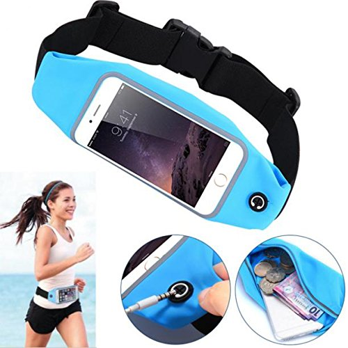 Blue Sports Running Workout Waist Bag Belt Case Gym Cover Pouch with Touch Screen for MetroPCS iPhone 6S