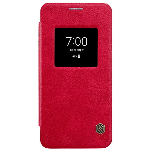 Hybrid Window (Window View Premium PU Leather Slim Folio Flip Cover LG G6 Case, Nillkin [Qin] Synthetic Leather Hard PC Inner Shell Hybrid Folio Case for LG G6 (Red))