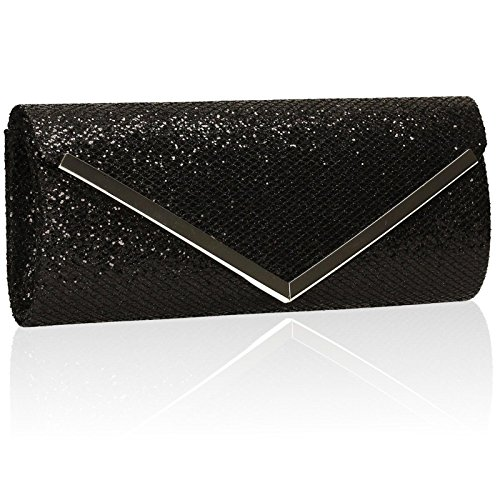 Xardi London Glitter Funda Womens embrague novia boda Ladies sobre bolsas de noche Prom negro
