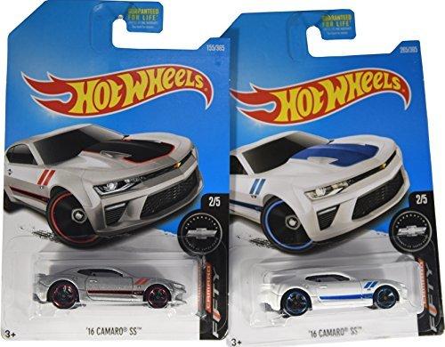 Hot Wheels 2017 Camaro Anniversary '16 Camaro SS 2/5, Set of 2 Cars: White & Silver