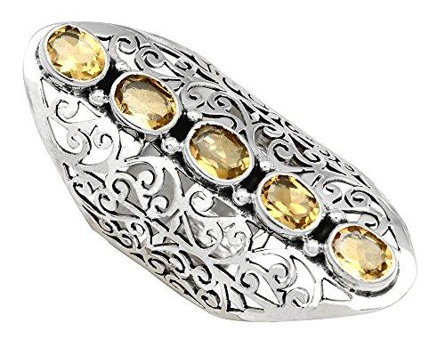 YoTreasure November Birthstone Ring Sterling Silver Natural Citrine Filigree Rings Jewelry Gift for ()