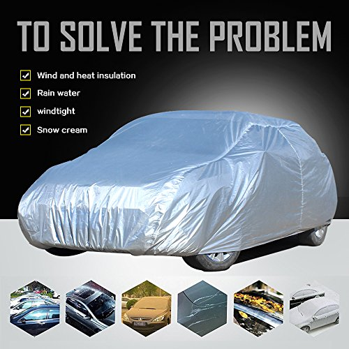 ECCPP Car Cover, Universal Fit 100% Breathable Waterproof Frost Resistant Cover All Weather Protection Auto Car Cover With Polyester 210″ Long for Cars Silver Grey – 1 Year Warranty(1pc)