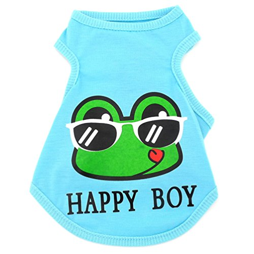Frog Kong Cat - SMALLLEE_LUCKY_STORE Clothes for Girls Boys Happy Frog Vest Dog T-Shirt Classic Tank Tops, Blue, Medium