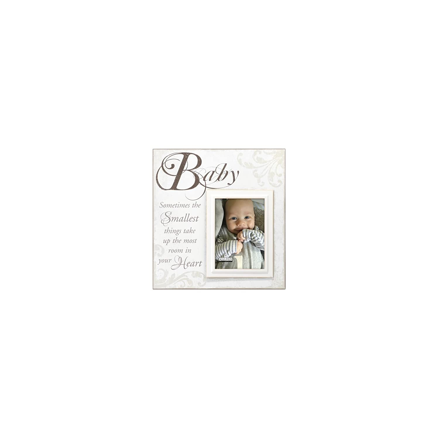"Malden International Designs Crème Silkscreened Wood ""Baby"" Picture Frame, 5×7, Off White"