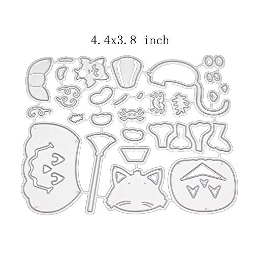 Halloween Style Metal Cutting Dies Stencil Metal Template for DIY Scrapbook Album Paper Card (Pumpkin cat and Dog)