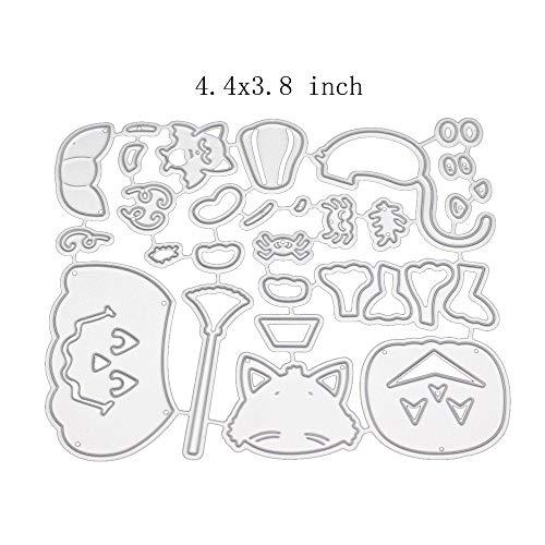Halloween Style Metal Cutting Dies Stencil Metal Template for DIY Scrapbook Album Paper Card (Pumpkin cat and -