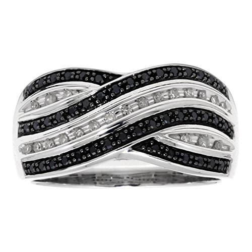1/4 cttw Black and White Diamond Criss Cross 925 Sterling Silver Ring Size 8 1/4 Cttw Diamond Cross