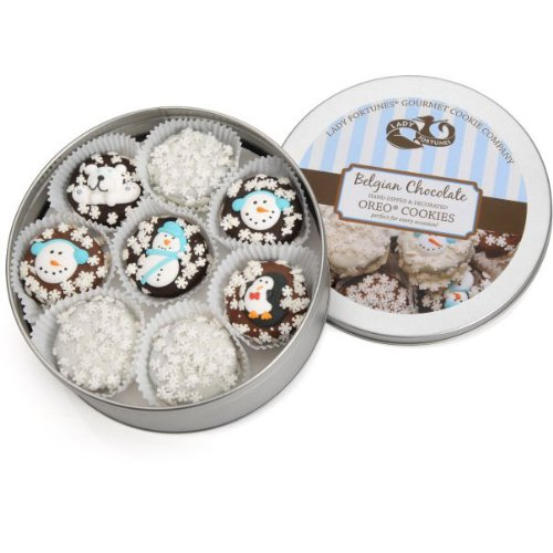 Winter Edition Tin of 16 Chocolate Dipped & Decorated Oreos