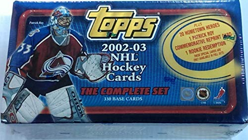 2002 2003 Topps Factory Sealed NHL Hockey Series Complete Mint 396 Card Set Featuring Stars and Hall of Famers Including Patrick Roy and Mario Lemieux and Many Others plus a Bonus 20 Card Hometown Heroes insert set (Trading Topps Cards Heroes)