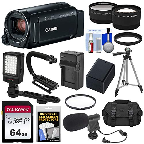 Canon Vixia HF R800 1080p HD Video Camera Camcorder (Black) with 64GB Card + Battery & Charger + Case + Tripod + Stabilizer + LED + Mic + 2 Lens ()