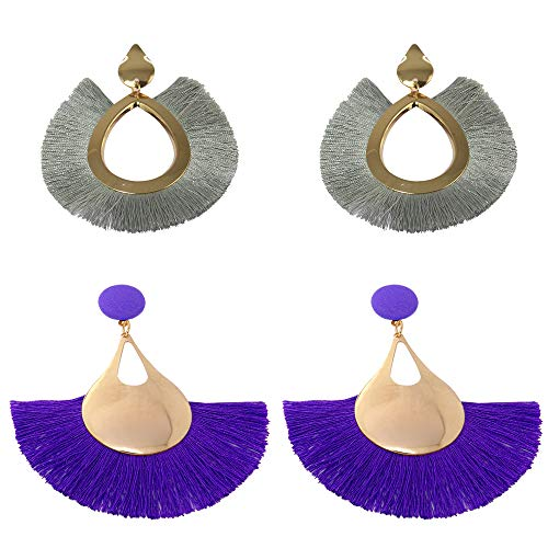 Tassels Earrings Peacock Shape Openwork Big Boho Ethnic Tribal Fringe Ear Drop Dangle Earrings Tiered Thread Soriee Bohemian Statement Fashion Women Girls Earring 2 Pairs Set