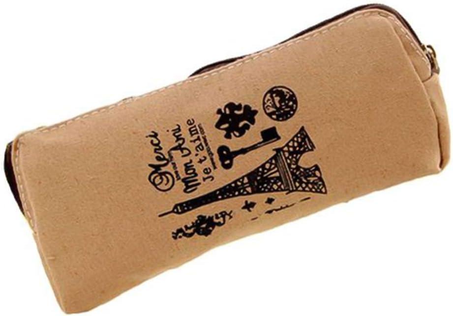 JIALI Memory of Paris - Estuche de algodón y cáñamo para Guardar artículos de papelería y Material Escolar 18 * 8cm Caqui: Amazon.es: Electrónica