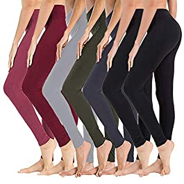 7 Pack High Waisted Leggings for Women – Soft Athletic Tummy Control Pants for Running Cycling Yoga Workout – Reg & Plus…