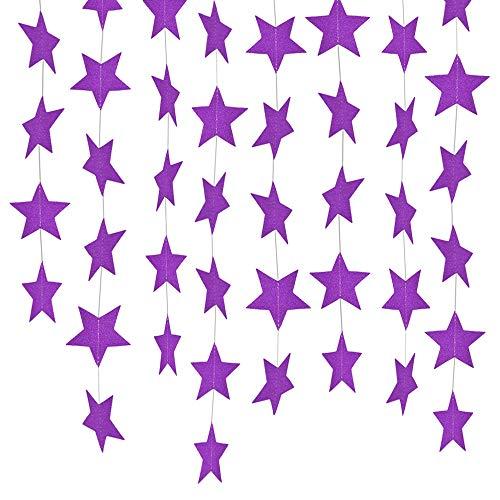 Lacheln Star Party Decorations Birthday Baby Shower Christmas Hanging Paper Garland (Glitter Purple,26 Feet)