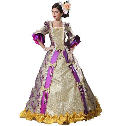 XNAIHUAFEI Women's 18th Century Costumes Gold Medieval Size US (18th Century Costumes Gowns)