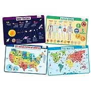 merka Explorer Set - Educational Kids Placemats Set of 4: Body, USA, World, Solar System - Bundle - Non Slip Washable