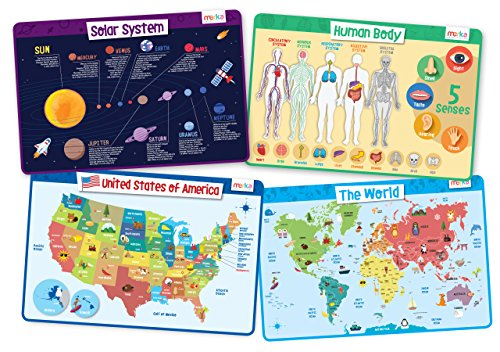 Map Explorer Laminated - merka Explorer Set - Educational Kids Placemats Set of 4: Body, USA, World, Solar System - Bundle - Non Slip Washable