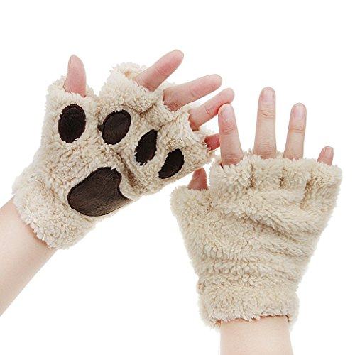 FakeFace Cute Cat Kitten Paw Fingerless Faux Fur Plush Gloves For Girls Women ()