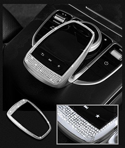 Boobo Ice Out Multimedia Mouse Buttons Center Console Knob adjust Cover Trim Luxury Badge Bling Emblem With Genuine Austrian Crystal For Mercedes Benz E C-Class GLC W205 W213 (Silver Mouse ()